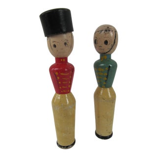 Antique Wood Soldiers-A Pair