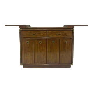 Campaign Style Dry Bar Cabinet Server with Convertible Server Bar of Wood & Brass For Sale