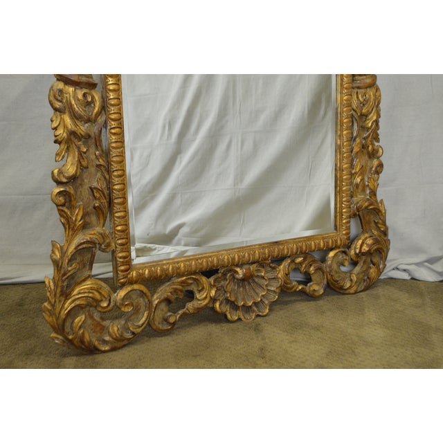 Rococo Style Large Giltwood Beveled Wall Mirror - Image 9 of 10