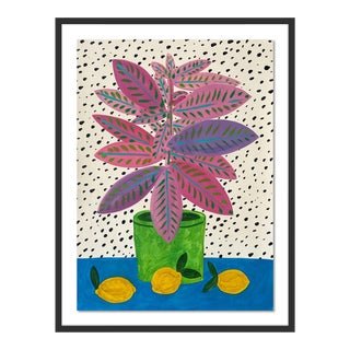 Pink & Purple Plant by Jelly Chen in Black Framed Paper, Small Art Print For Sale