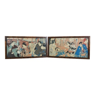 Japanese Samurai Warrior Figures Woodblock Triptych Prints in Burl Frame - Set of 2 For Sale