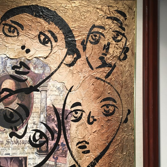 """Paint Peter Keil Canvas Painting, """"Shakespeare Faces"""" For Sale - Image 7 of 13"""