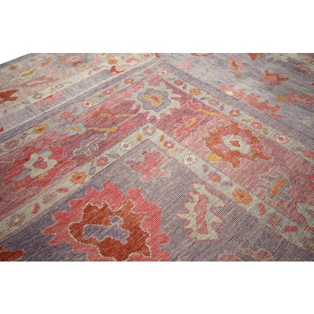 Textile Contemporary Turkish Oushak Rug With Modern Colors - 8′ × 9′7″ For Sale - Image 7 of 9