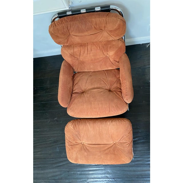 Milo Baughman Vintage Milo Baughman Pumpkin Suede Chair & Ottoman For Sale - Image 4 of 11
