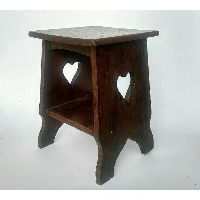 Arts & Crafts Mission Oak Side Table with Heart Cut Outs - Image 3 of 6