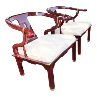 Vintage James Mont Style Century Chair Company Chinoiserie Lounge Chairs- a Pair For Sale