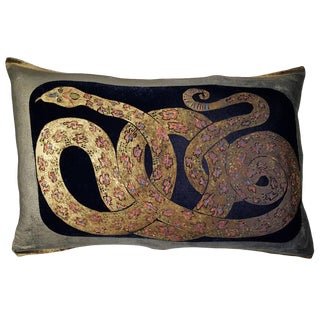 Snake Silk Velvet Pillow For Sale