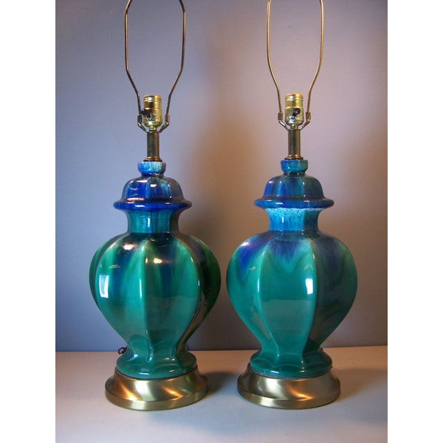 Mid-Century Green Drip Glaze Lamps - A Pair - Image 3 of 5