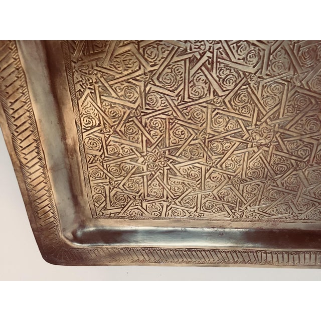 Gold Spanish Moorish Rectangular Brass Tray For Sale - Image 8 of 12