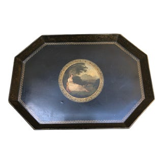 19th Century English Traditional Papier Mache Painted and Gilded Tray Table