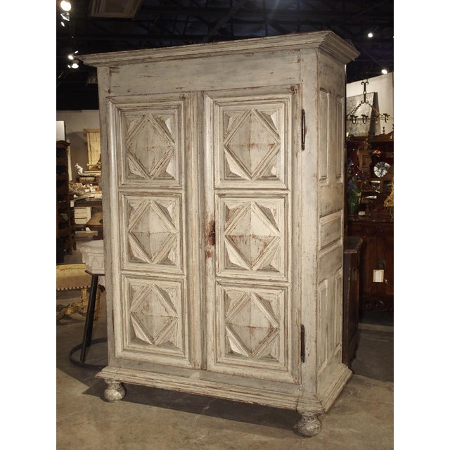 Painted 17th Century French Oak Diamond Point Armoire For Sale - Image 13 of 13