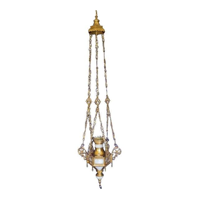 20th Century Religious Brass Alabaster Sanctuary Lamp For Sale