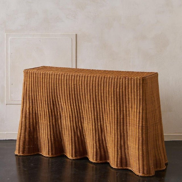 Brown Trompe l'Oleil Wicker Draped Console Table For Sale - Image 8 of 8