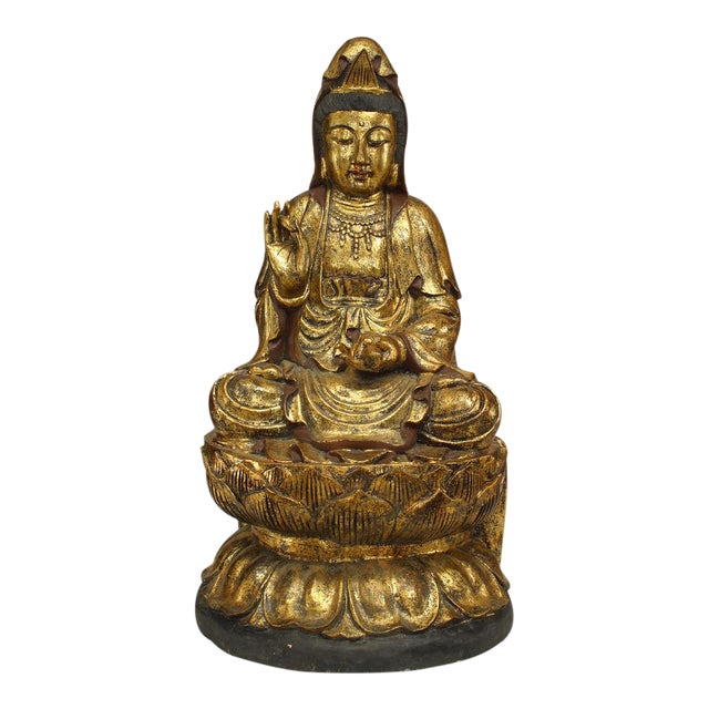 Asian Chinese Gilt Carved Figure of Seated Guan Yin Buddha on a Lotus Base For Sale