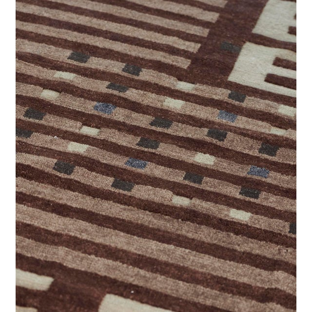 Mansour Modern Handwoven Swedish Inspired Contemporary Wool Rug For Sale In Los Angeles - Image 6 of 7
