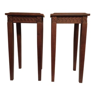 Gothic Teak Side Tables - a Pair For Sale