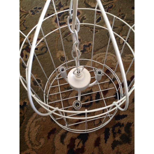 White Birdcage 3 Light Chandelier With Antique Glass Prisms - Image 2 of 9