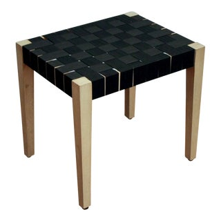 Black Woven Strap Ottoman / Bench / Plant Stand For Sale