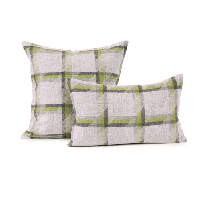2020s Lime Plaid Lambswool Throw + Lumbar Pillow Cover For Sale - Image 5 of 5