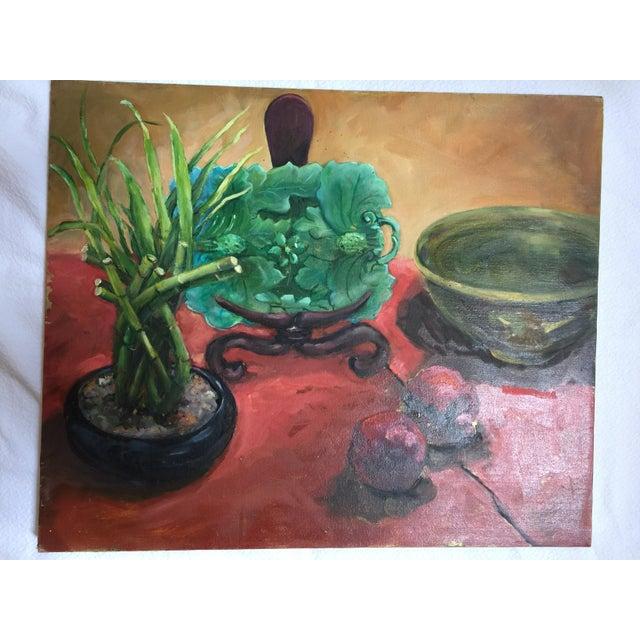 Majolica, Pomegranates & Bamboo Still Life Oil Painting - Image 3 of 7