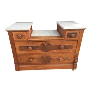 Antique Solid Walnut Drop Front Marble Top Dresser For Sale