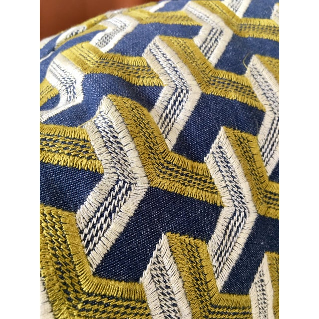 Kravet Embroidered Denim Pillows - A Pair - Image 3 of 5