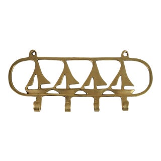 1960s Nautical Beach Brass Ship Sail Boat Towel or Key Hook For Sale
