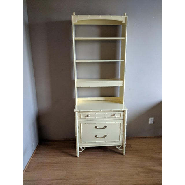 Thomasville High Gloss Saffron Faux Bamboo 2 Pc. Bookcase and Three Drawer Chest Set For Sale - Image 10 of 10