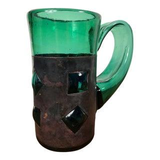 Vintage Brutalist Green Glass Mug by Mexican Glassblower Felipe Derflingher For Sale