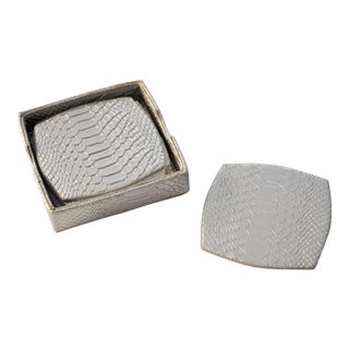 Kim Seybert Silver Anaconda Snake Effect Coasters - Set of 6 For Sale