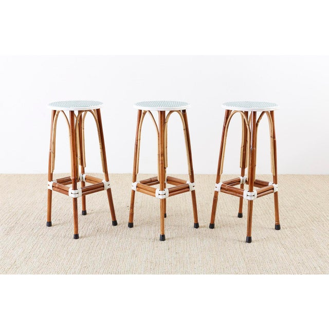 Set of Three Maison Gatti Rattan French Bistro Barstools For Sale - Image 11 of 13
