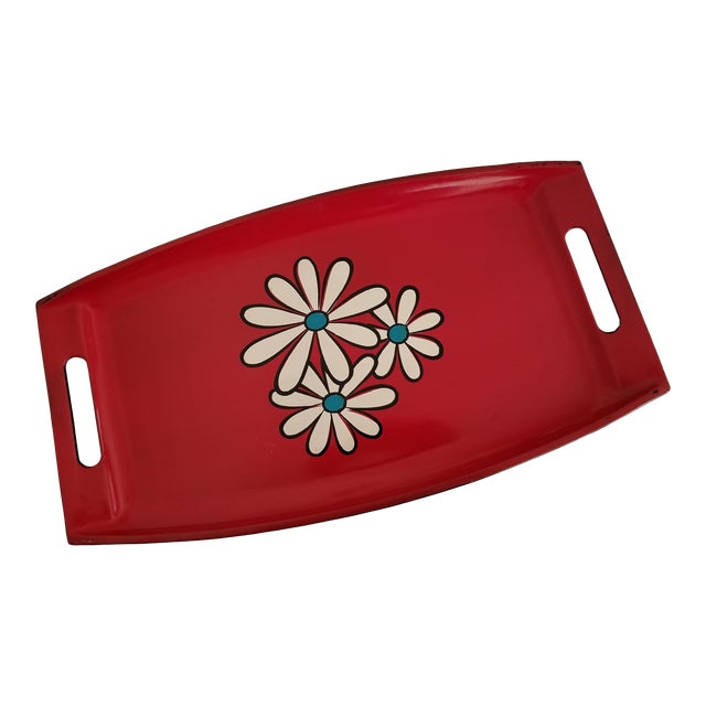 20th Century Pop Art Red Lacquer Serving Tray With Daisies For Sale