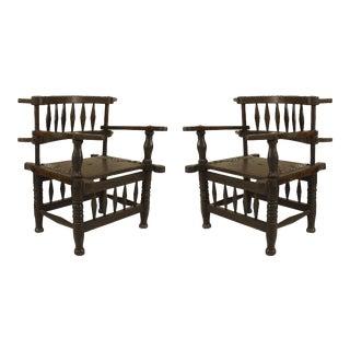 African Hardwood Diamond Arm Chairs For Sale
