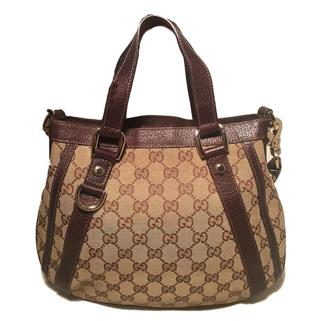 119d29afa0f9 Contemporary Gucci Monogram Canvas and Brown Leather Small Shoulder Handbag  For Sale - Image 3 of