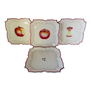 Vietri Apple Motif Wall Plates, Set of 4 For Sale