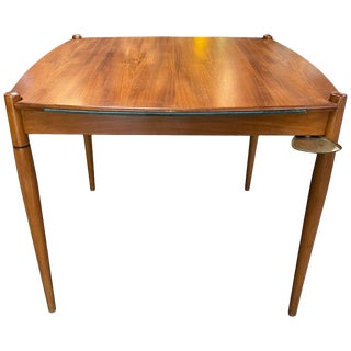 Gio Ponti Mansonia Walnut Wood Italian Game Table With Green Felt Top, 1958 For Sale