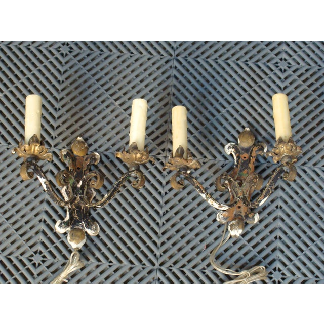 Antique French Iron Two-Light Wall Sconces- A Pair - Image 2 of 6