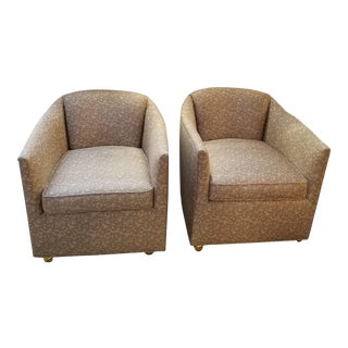 Mid-Century Tub or Barrel Chairs on Brass Castors in Beige Angelo Donghia Fabric - a Pair