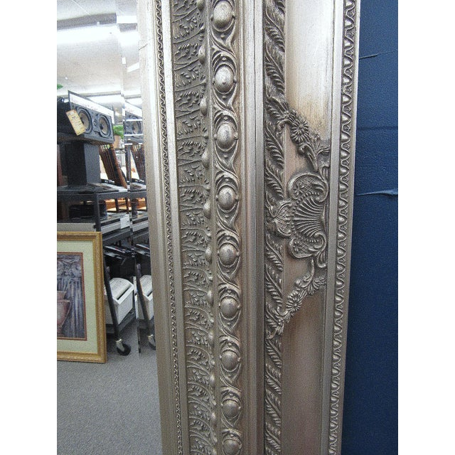 """89"""" High Silver Gilded Beveled Glass Floor Mirror For Sale - Image 4 of 12"""