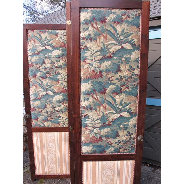 Farmhouse Antique Fabric Covered Folding Screen For Sale - Image 3 of 6