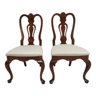 Lexington Cherry Chippendale Queen Ann Dining Side Chairs - A Pair