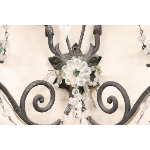 20th Century Italian Bronze and Colored Crystals Swarovski Wall Light or Sconces For Sale - Image 6 of 7