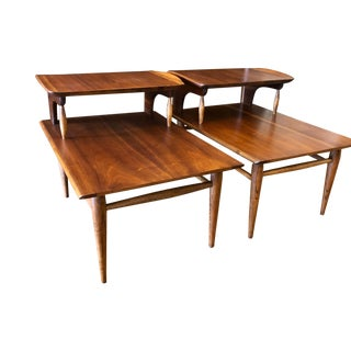 Pair of Mid Century Modern Surfboard Step End Tables 1960's For Sale