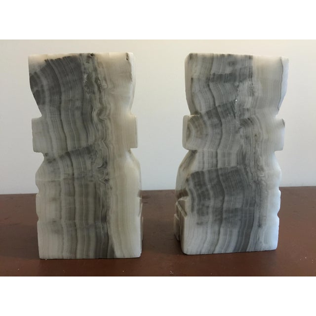 Large White Marble Tiki Bookends - Image 4 of 5
