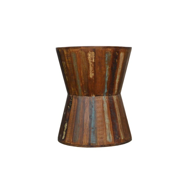 Reclaimed Wood Hourglass Stool - Image 2 of 3