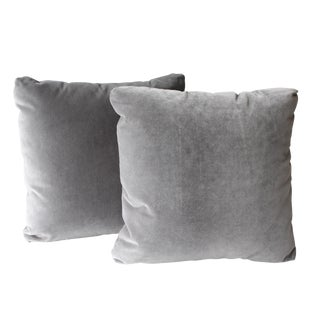 Modern Grey Velvet Pillows - Set of 2 For Sale