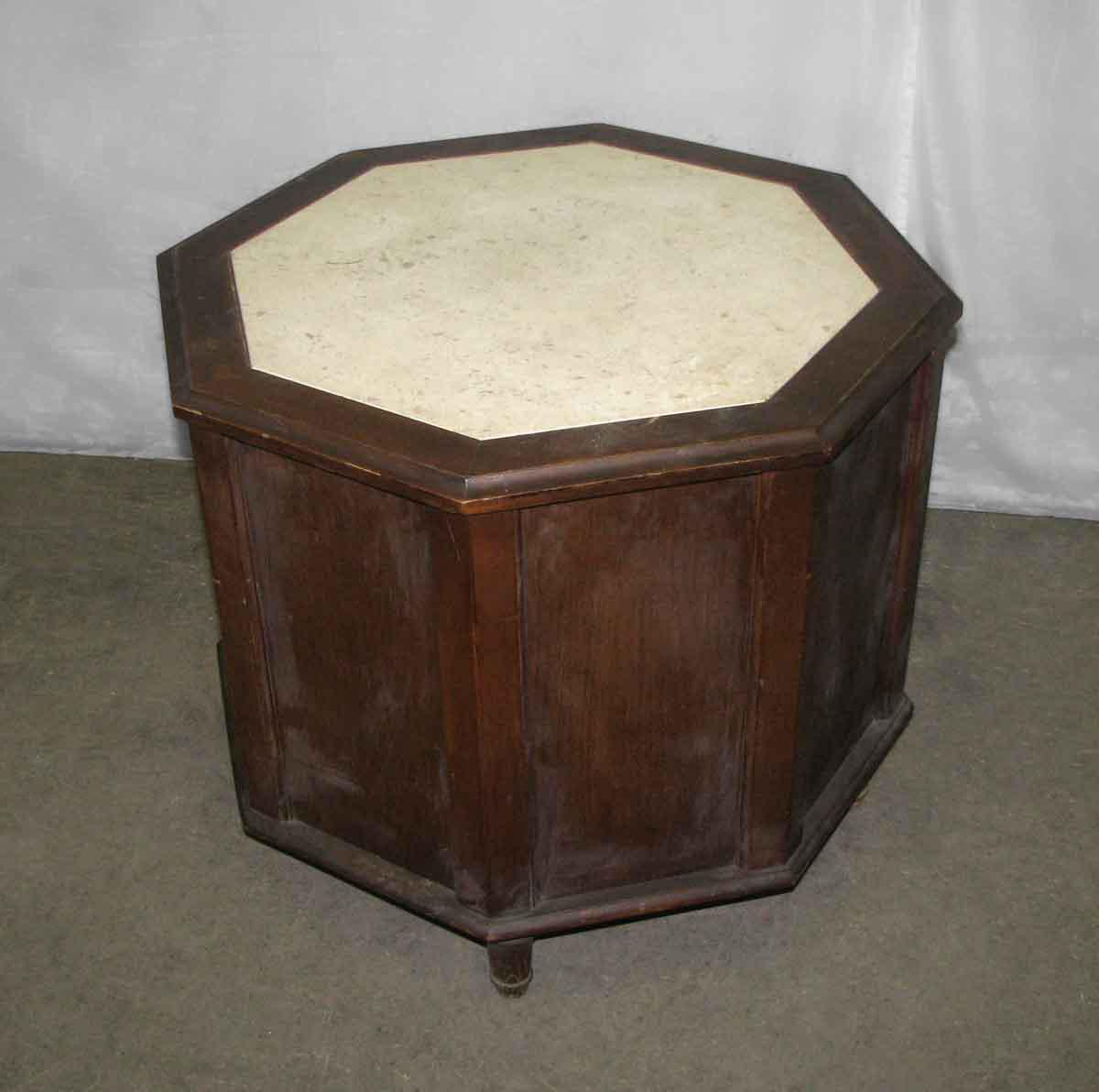 Octagon Shaped Side Table With Open Cut Front U0026 Marble Top   Image 4 ...