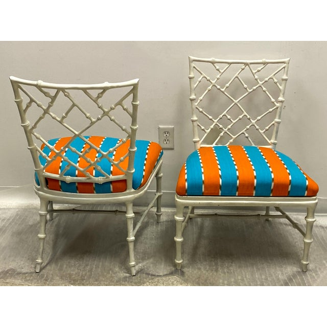 Chinese Pair of Cast Aluminum Faux Bamboo Chairs by Kessler for Phyllis Morris For Sale - Image 3 of 6