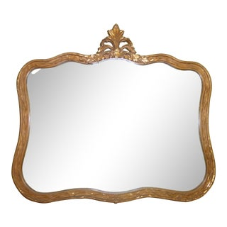 Vintage French Provincial Style Dark Gold Gilt Wall Mirrror Curved Floral Frame For Sale