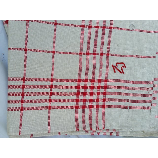 Traditional Antique 1920s Red Plaid Glass Cloths - Set of 6 For Sale - Image 3 of 5